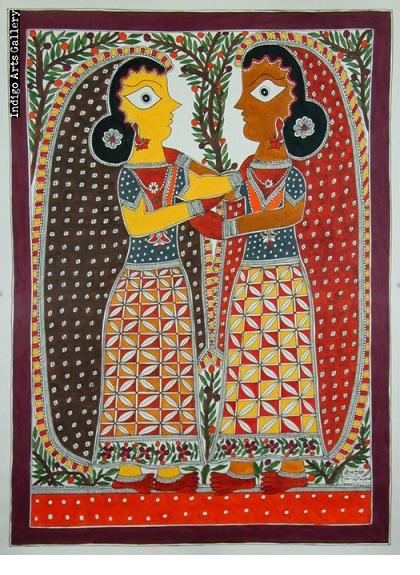 Two Girl Friends - Mithila painting