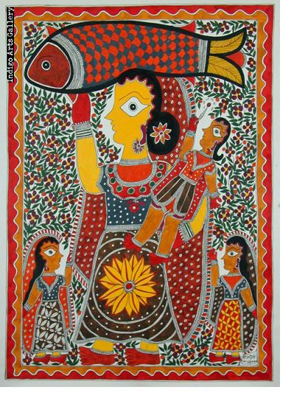Fish-Carrying Woman with Daughter and Son - Mithila painting
