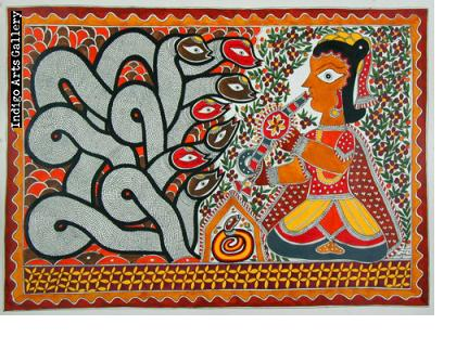 Snake Player - Mithila painting