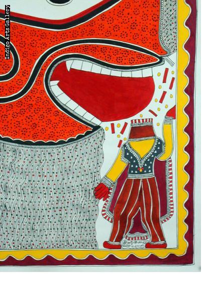 Tiger Eating Man - Mithila painting