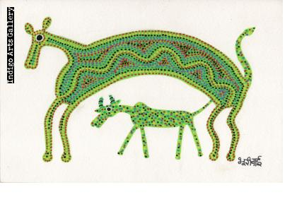 Green Cow with Calf