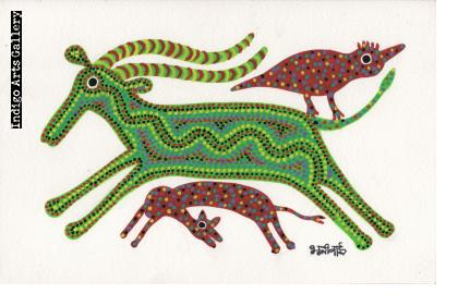 Green Goat with Red Kid and Bird