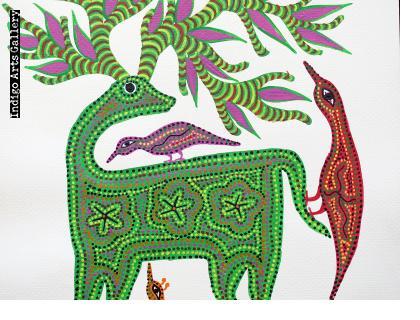 Green Deer with Birds