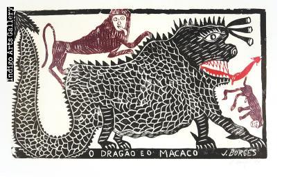 O Dragao Eo Macaco - vintage woodcut print