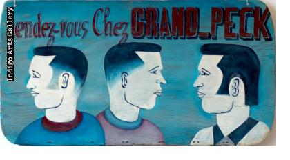 """Rendezvous Chez GRAND PECK"" barber sign"