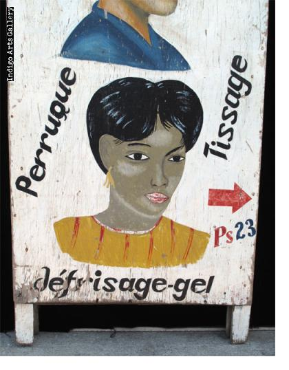 "Two-piece (""sandwich board"") Coiffure Mawulolo Hair Sign"