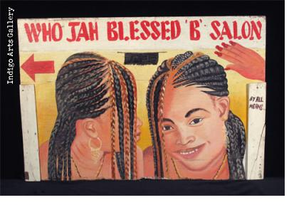 WHO JAH BLESSED 'B' SALON Two-sided Hairdresser Sign