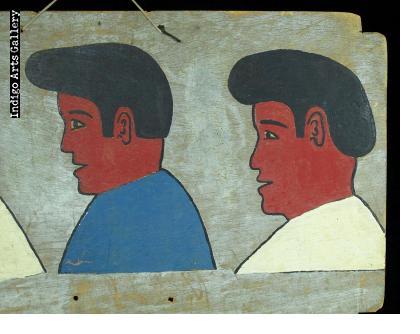 Three Guys - Vintage Hair Sign from Burkina Faso