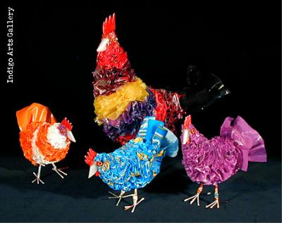 Recycled Plastic Bag Chickens