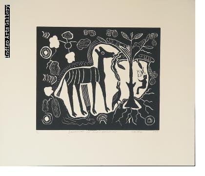 Dreaming of Kudu Browsing - linocut print