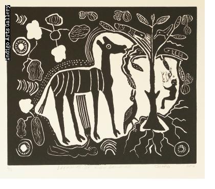 Dreaming of Kudu Browsing - linocut print