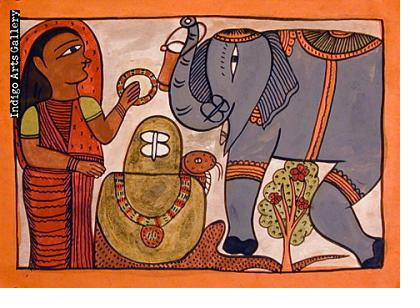 Worshipping the Shiva Linga