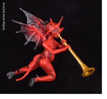Retablo Musician Devil Ornament