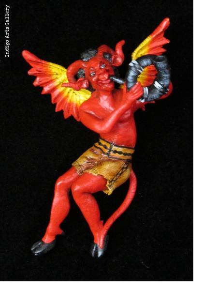 """""""Diablo Musico"""" Devil with a Horn - Retablo Ornament"""