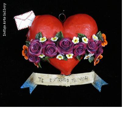 """""""Te Extrano mi Vida"""" Retablo Heart Ornament"""