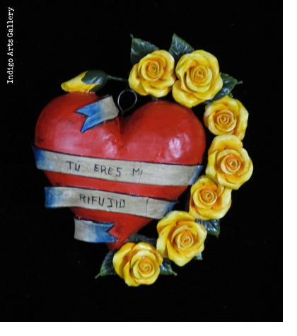 """Tu Eres Mi Refugio"" Retablo Heart Ornament"