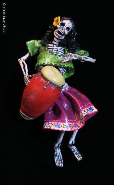 Calavera Drummer - Retablo figure