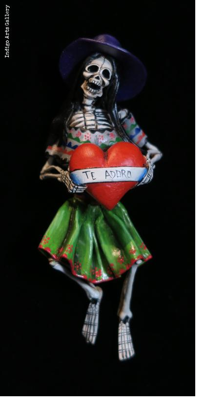 Calavera with a Heart - Retablo figure