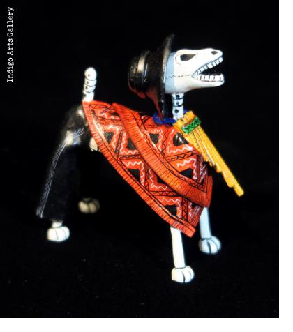 Pan-pipe Calavera Dog - Retablo Figure