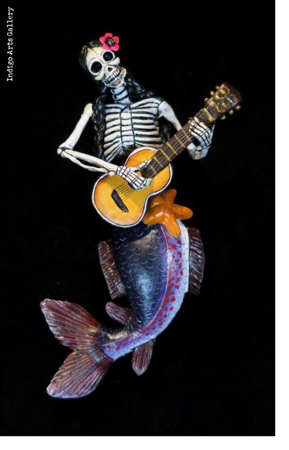 Sirena Calavera with Guitar - retablo figure