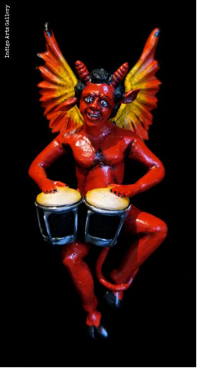 Devil with Bongos - retablo sculpture