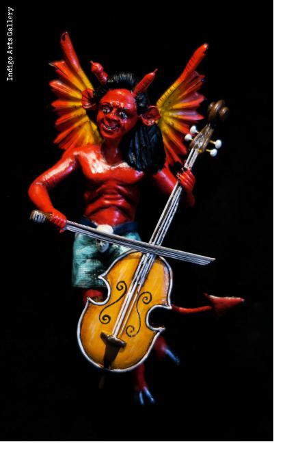Devil with a Cello - retablo sculpture