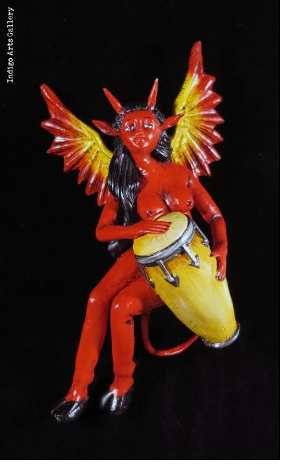 Diabla with a drum - retablo sculpture