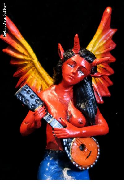 Diabla with mandolin - retablo sculpture