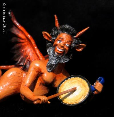 Diablo with a Drum - retablo sculpture