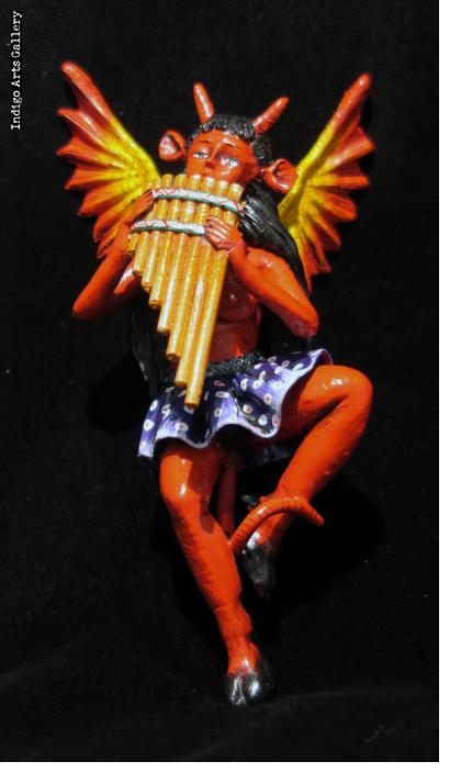 Diabla with Panpipes - retablo sculpture