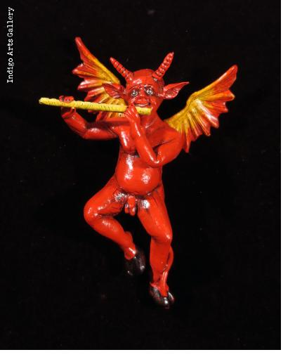 Devil with a Flute - Retablo Sculpture