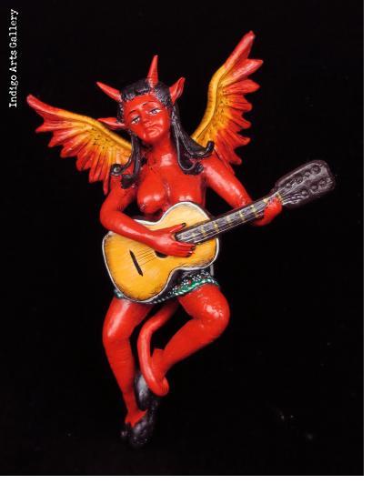 Diabla with Guitar - Retablo Sculpture