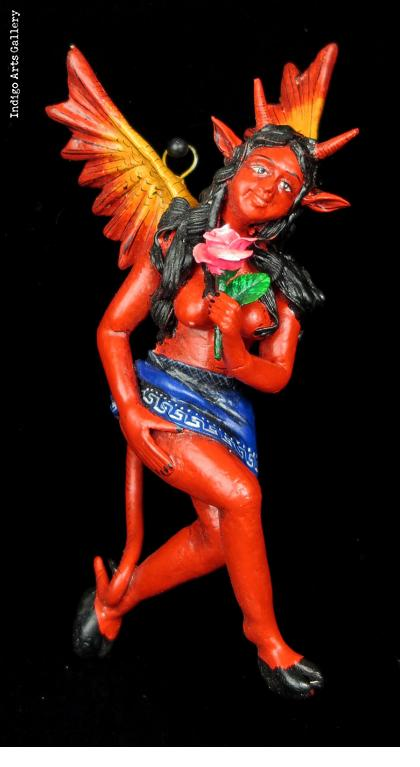 Diabla with Rose - Retablo Sculpture