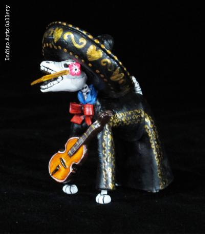 Mariachi Dog of the Dead - Retablo Figure