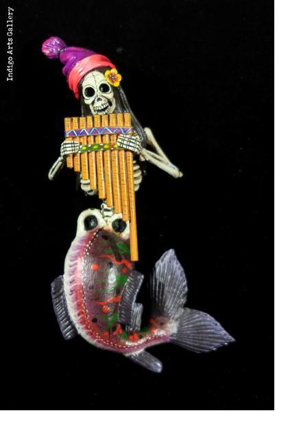 Pan-piper Sirena de Muertos - Retablo Figure