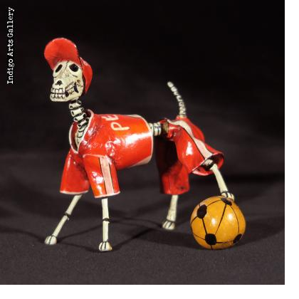 Calavera Dog Soccer Player - Retablo Figure