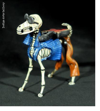 Calavera Rock-star Dog - Retablo Figure