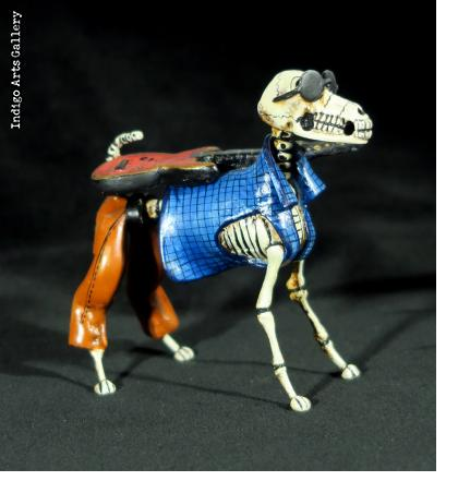 Calavera Rock-star Dog - Retablo Figure