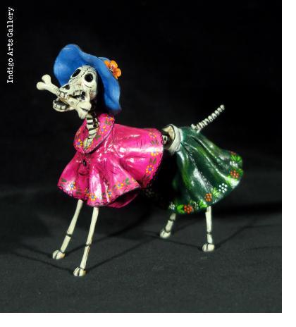 La Catrina Dog - Retablo Figure