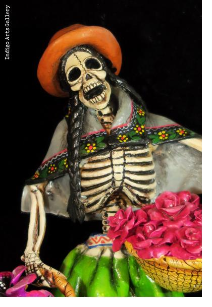 Calavera Flower-Seller - retablo figure
