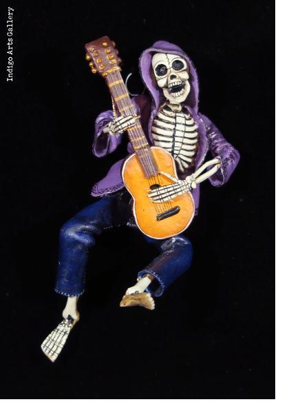Calavera Guitarist in Hoodie - retablo figure