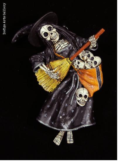 Calavera Bruja with a basket of skulls - retablo figure