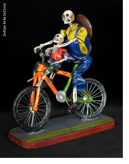 Two Calaveras on a Bike - Retablo Sculpture