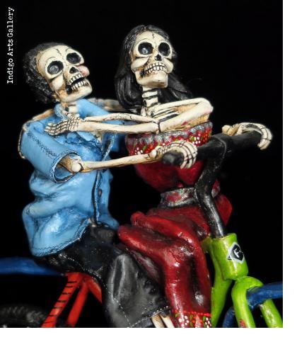 Bike Ride of the Dead IV - retablo sculpture