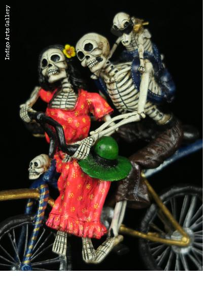 The Family that Rides Together - retablo sculpture