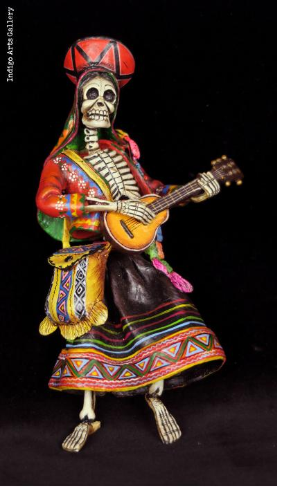 Calavera Guitarist of the Sierra - retablo sculpture