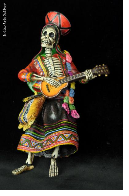 Calavera Guitarist of the Sierra - retablo sculpture