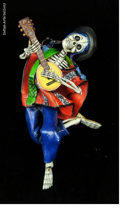Calavera Musician of the Sierra - retablo sculpture