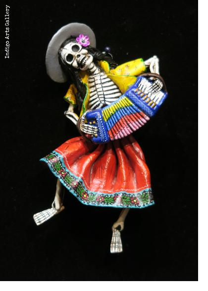 Calavera Accordionist of the Sierra - retablo sculpture