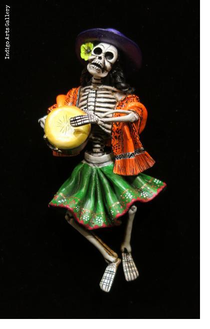Calavera Drummer - retablo sculpture